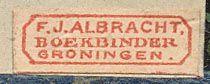 F.J. Albracht Boekbinder Groningen, Netherlands 15mm x 5mm, ca.1840-60s?