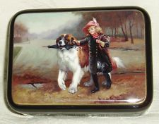 """Russian Lacquer box Fedoskino """" Girl with a St. Bernard dog """" Hand Painted"""