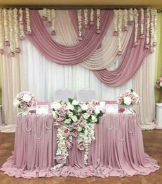 Floating Chiffon Table Skirt with extra length, Long Chiffon Table Skirt, Floating Chiffon Tableclot - Wedding Planning Wedding Stage, Diy Wedding, Wedding Flowers, Dream Wedding, Trendy Wedding, Stage Decorations, Wedding Decorations, Tall Wedding Centerpieces, Balloon Decorations