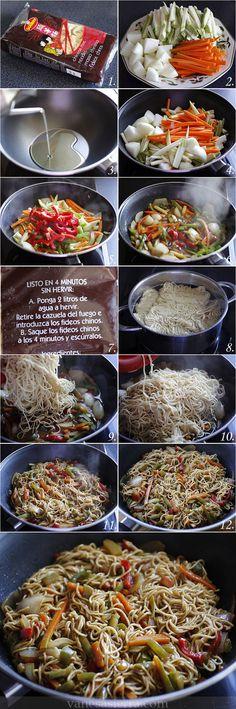 Fideos chinos (noodles) con verduras, paso a paso                                                                                                                                                     Más