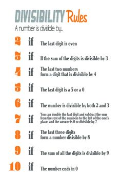 Math Geek Divisibility Rules Teacher Poster - 20x30 - Orange, White, and Gray. $19.99, via Etsy.