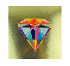 Geometric Painting Panel mixed media  Diamond by SketchInc on Etsy, £60.00