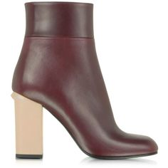 Marni Bordeaux Leather Ankle Boot (17.157.790 IDR) ❤ liked on Polyvore featuring shoes, boots, ankle booties, leather booties, flat leather booties, chunky heel ankle boots, thick heel booties and flat boots