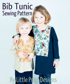 Bib Tunic PDF pattern, now available in the shop ! Fall Outfits, Kids Outfits, Tunic Sewing Patterns, Sewing Tutorials, Sewing Ideas, Sewing Projects For Kids, Children Clothes, Child Love, Print Design