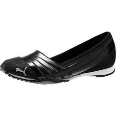Puma Asha Alt 2 Shine Women's Ballet Flats ($65) ❤ liked on Polyvore featuring shoes, flats, slip on flats, cat flats, ballet pumps, cat ballet flats and cat shoes