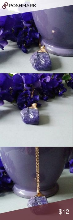 New Natural Quartz Crystal Chakra Healing Gem Pretty Purple Gem with Gold Necklace Jewelry Necklaces
