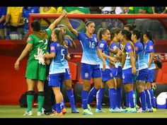 Players from Brazil react at the end of their Group E soccer match against Spain in the 2015 FIFA women's World Cup at Olympic Stadium. Brazil defeated Spain, 1-0