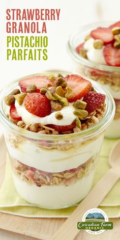 Easy layered parfaits with fruity strawberry granola, pistachios, creamy yogurt, berries and a drizzle of honey, are pretty enough for brunch!