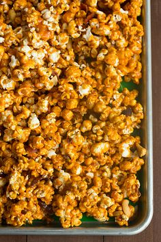 I made this awhile ago and want to remember the recipe.  I used one bag of microwave popcorn because I didn't have kernels, and I didn't add any cashews.  This stuff is so good...make it to share or otherwise you'll eat it all yourself. Bourbon Bacon Cashew Caramel Corn | browneyedbaker.com #recipe
