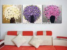 100% el boya yağlı boya palet bıçak dokulu yağlıboya tuval duvar sanat tuval 3 adet/set, üst ev dekor dh089(China (Mainland))