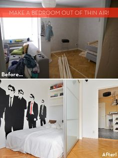 Studio apartment getting you down? Make a bedroom out of thin air! #DIY #magic #IKEAhack