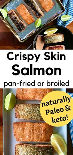 Crispy skin salmon is so simple and delicious you'll want to make it all the time! You'll learn how to cook the best salmon with crispy skin in 2 easy ways: pan seared in a skillet on the stovetop or broiled. You'll have a healthy, low carb, clean eating dinner on the table in just 15 minutes! And it just happens to be naturally keto, Paleo and Whole30-friendly! Pan Fried Salmon, Keto Salmon, Pan Seared Salmon, Crispy Smashed Potatoes, Paleo Keto Recipes, Frozen Salmon, Clean Eating Dinner, Cooking Salmon, Learn To Cook