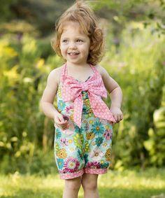 $18.99! Love this Blue & Pink Floral Bow Romper - Toddler & Girls on #zulily! #zulilyfinds