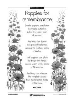 Poppies For Remembrance Remembrance Day Poems, Veterans Day Activities, Poppy Wreath, Poppy Craft, Armistice Day, Thanksgiving Art, Anzac Day, Canada Day, Red Poppies