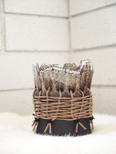 oreo standing pot with wicker wrap by twpottery