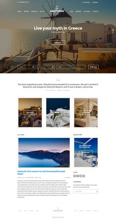 Welcome to Santorini Resort. Our beautiful responsive WordPress theme specifically designed to showcase your hotel / resort in style. Enjoy your stay. Hotel Website Design, Travel Website Design, Website Design Layout, Design Hotel, Travel Design, Website Designs, Website Themes, Wordpress Theme Design, Best Wordpress Themes