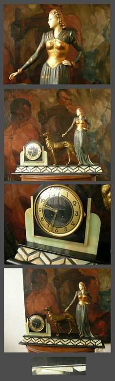 "Impressive 32"" clock by MENNEVILLE. Circa 1930. Marble and onyx basis. Metal figure. Head and hands are Ivoreen or Bakelite. Excellent condition. 32"" x 7.5"" x 24""."