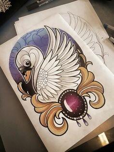 #neo #traditional #tattoo #drawing #swan