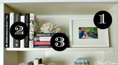 7 steps to styling bookshelves - lovely article! Styling Bookshelves, Decorating Bookshelves, Bookcases, D House, Tips & Tricks, Home Organization, Home Projects, Interior Decorating, Decorating Ideas