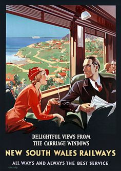From the golden age of train travel... Smart Art Deco NSW Australian travel poster http://vintagevenus.com.au/products/vintage_poster_print-tv934