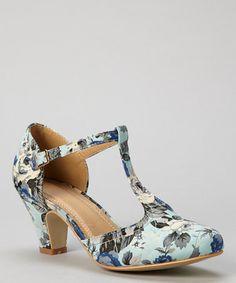 Another great find on #zulily! Blue Floral Mina T-Strap Pump #zulilyfinds