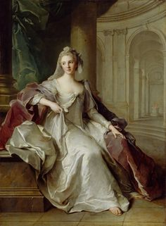 Madame Henriette de France as a Vestal Virgin ,  Jean-Marc Nattier, c. 1749 I'm not sure what type of dress this is, but it kind of looks like robe a la polonaise.