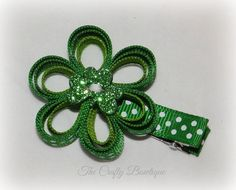 Shamrock and Polka Dots ~ St. Patrick's Day Bow ~ Flower Clippie Hair Bow ~ Emerald, Apple and White ~ Glittery Clover Hair Bow ~ Loopy Bow