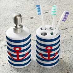 Click the pic to buy. Anchor, Nautical Bathroom Set, Toothbrush Holder, Soap Dispenser Set.