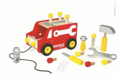 What a great idea - this 4 in 1 workbench, tool set, pull along and truck from French toy company Janod, is certain be a big hit with young DIY enthusiasts. Baby Accessoires, Diy Workbench, Toddler Gifts, 3rd Birthday, Baby Toys, Trucks, Kids, Janod, Engineer