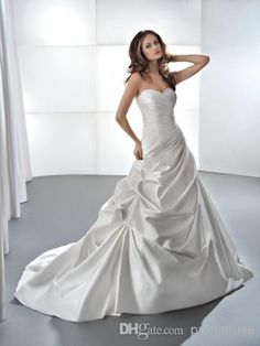 Wholesale 2014 Simple A-line Ruffles Sweetheart Chapel Train Draped Lace-up Satin Wedding Dress Beautiful Bridal Gown EM00908, Free shipping, $89.01/Piece   DHgate Mobile