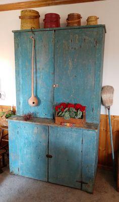 Primitive Cabinets, Primitive Furniture, Primitive Antiques, Blue Cabinets, Cupboards, Antique Cupboard, Milk Paint, Case, Primitives