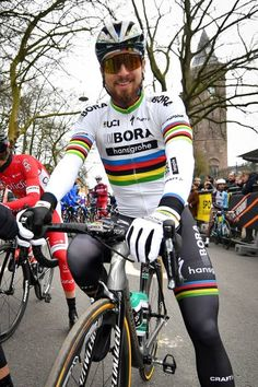 Slovakian Peter Sagan of BoraHansgrohe poses before taking the start of the 72nd edition of the Omloop Het Nieuwsblad cycling race on February 25...