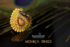 Beautiful, traditional, Light Weight Rings by Mohika. Gold Ring Designs, Gold Earrings Designs, Gold Jewellery Design, Gold Jewelry, Jewelery, Jewelry Bracelets, Pendant Set, Pendant Jewelry, Rajputi Jewellery