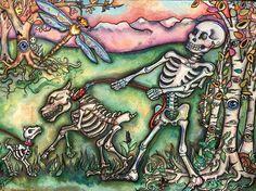 Lisa Luree art Day of the Dead BIG DOG skeleton WALK original painting Doglover