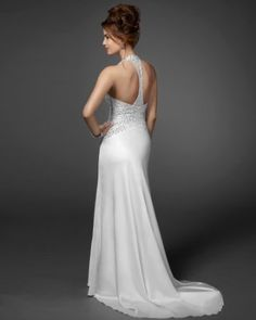 fabulous back. Embellished halter charm dress. Bebe bridal by Rami Kashou from project runway