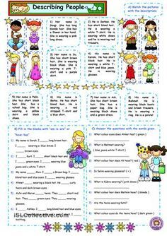 Describing people; name, clothes, am-is-are, have got-has got - ESL worksheets