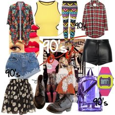 """90's Theme Party"" by tossermag on Polyvore                                                                                                                                                                                 More"