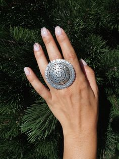 Inel floare ajurată, argint, india #metaphora #silverjewellery #silverjewelry #ring #statementring #india
