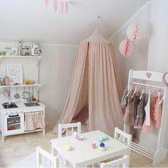 This is our dream play space! Dress up, kitchen and reading corner <3