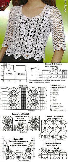 Blusa branca de crochê de uma revista!.