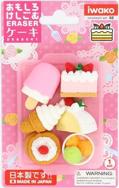 Iwako Japanese Erasers Sweets and Fruits Set of 12 with Japanese Stationery Original Package Japanese stationery store
