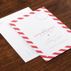 Airmail Love LettereInviteWeddingSave the DatePostcards
