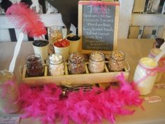 What a great idea for a homemade ice cream bar! Add toppings into mason jars and display!