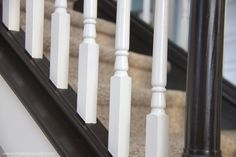 How to Paint / Stain Wood Stair Railings (Oak Banisters & Spindles) WITHOUT SANDING! Oak Banister, Wood Railings For Stairs, Diy Stair Railing, Banisters, Staircase Design, Interior Railings, Railing Ideas, Paint Stained Wood, Stain Wood