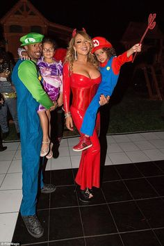 The whole gang:Mariah Carey's Halloween festivities made for a sweet display as her ex-husband Nick Cannon joined her in ringing in the holiday with their five-year-old tots Moroccan and Monroe on Saturday in Los Angeles