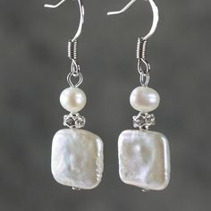 Pearl Earrings drop bridal wedding dangle square by AniDesignsllc