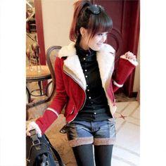 $16.53 Cool Style Polo Neck Faux Fur Collar Long Sleeves Slant Zipper Woolen Blend Women's Jacket