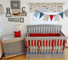 Red and Grey crib bedding in a vintage plane theme nursery