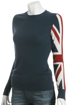 C3 Collection midnight cashmere Union Jack sweater | BLUEFLY up to 70% off designer brands