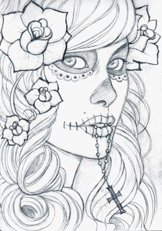 Gallery For > Dia De Los Muertos Skull Girl Drawing
